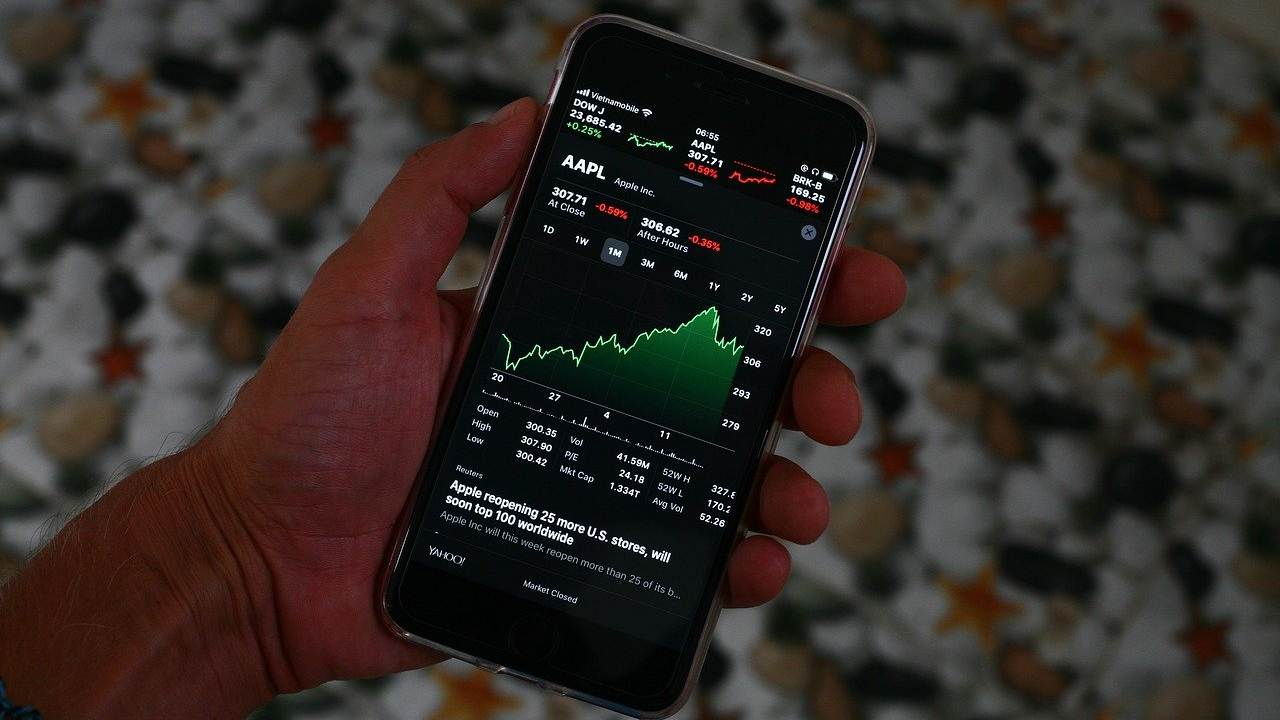 L'indice Dow Jone su uno smartphone