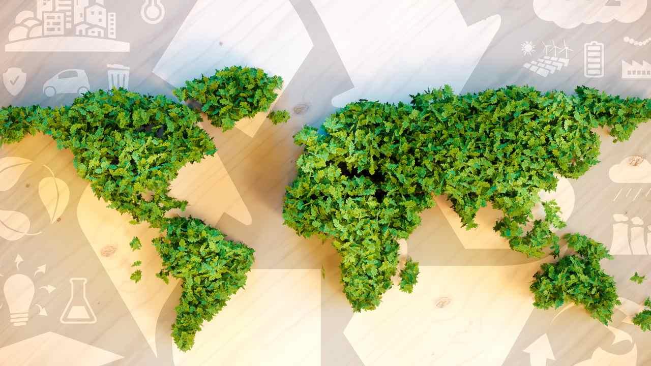 mappa mondo verde