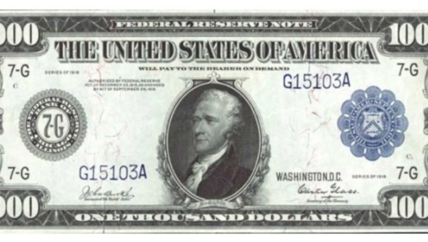 Banconota Alexander Hamilton 1.000 dollari del 1918 (Google Images)