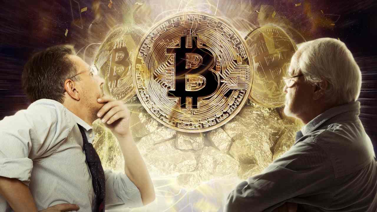 Due investitori osservano Bitcoin