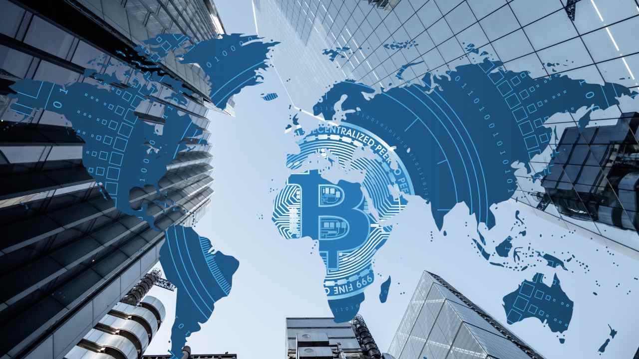 Bitcoin su mappamondo